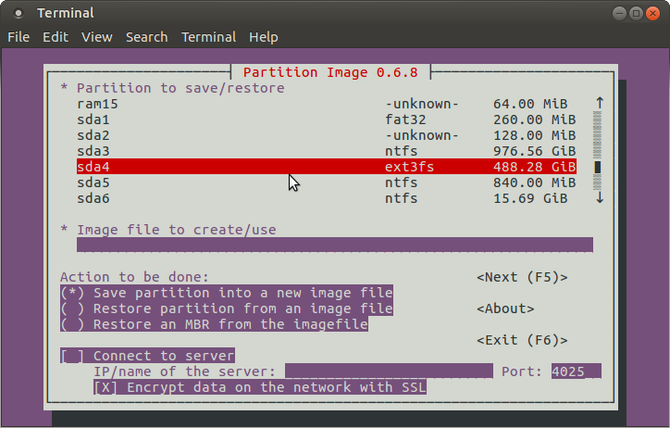 Create a Linux disk image for backup