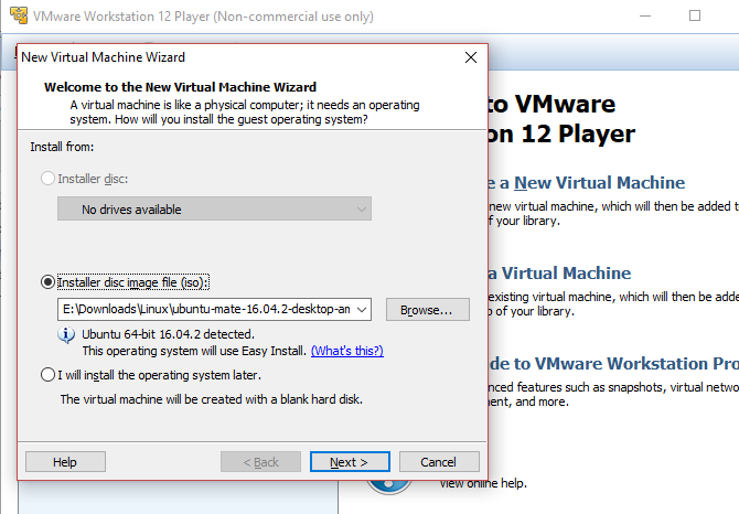 Create a Linux virtual machine in Windows with VMWare