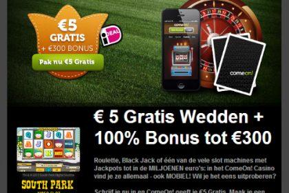 5 Euro Gratis Speelgeld Bij Comeon Casino
