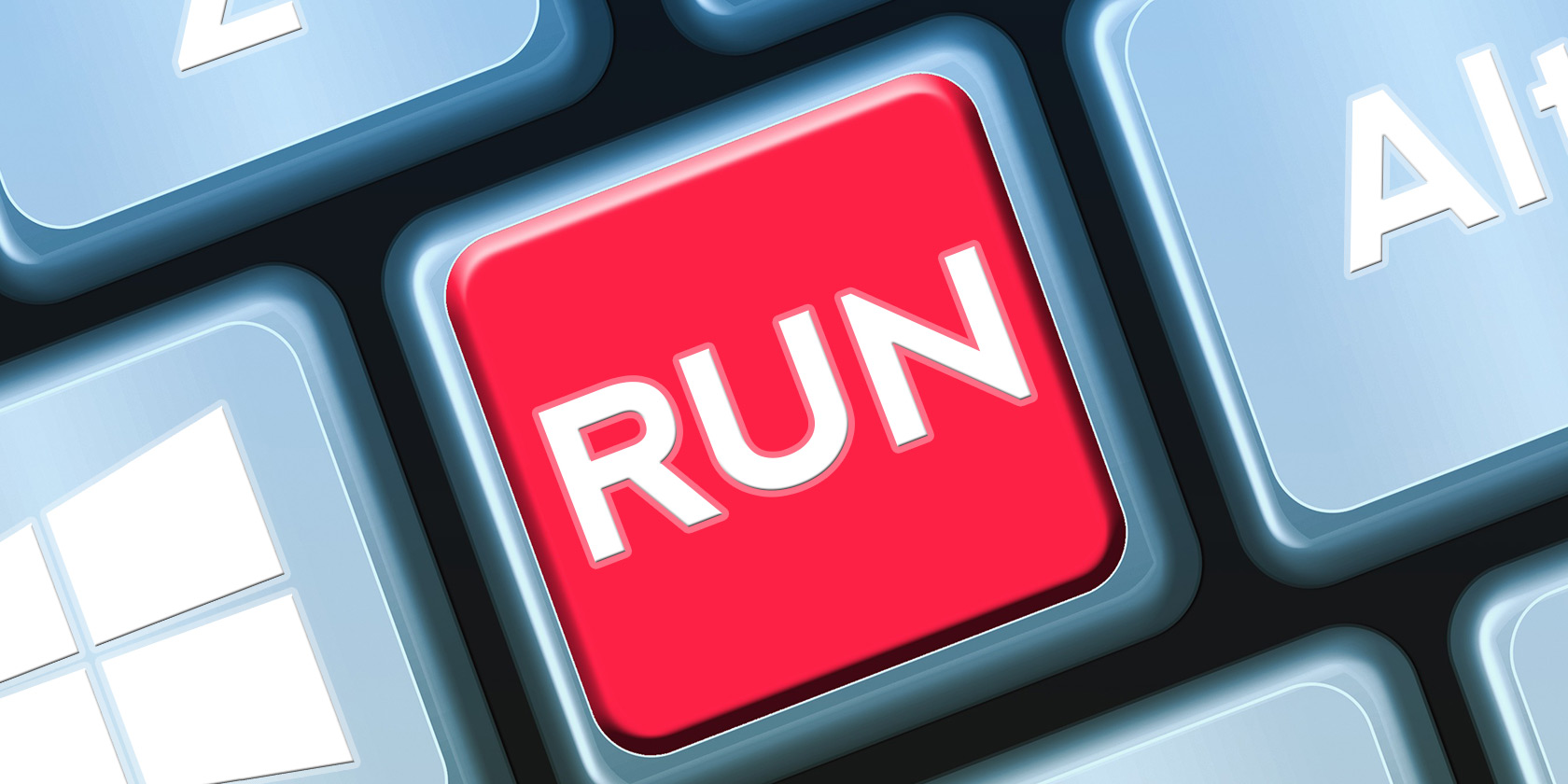 Close-up of Run button/key