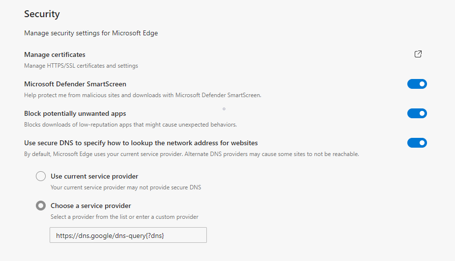 Microsoft Edge Change DNS Provider