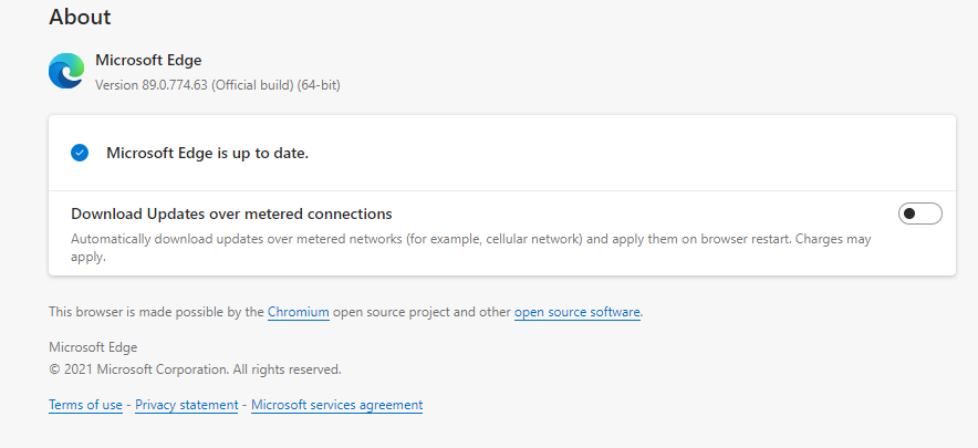Microsoft Edge Latest Version Update